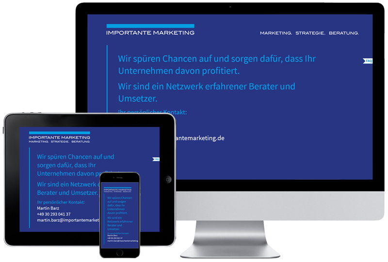 Referenz für die Website von Importante Marketing